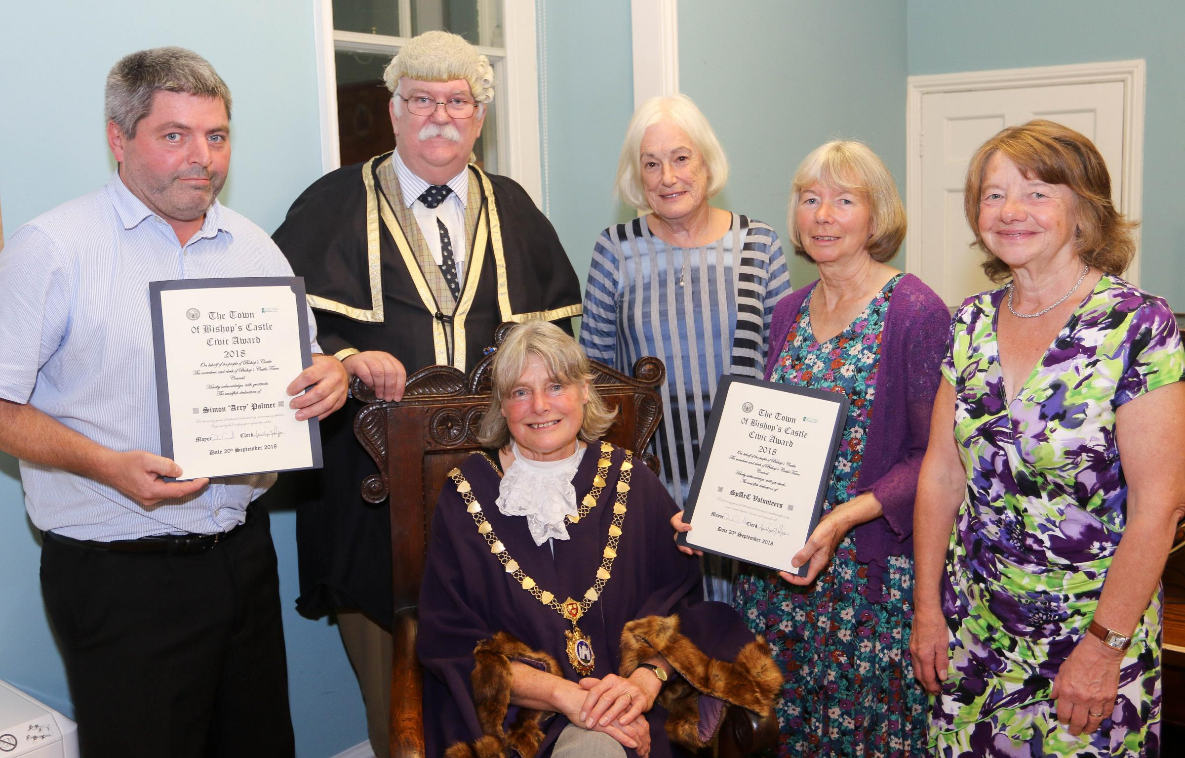 Bishop's Castle Town Council Civic Awards Night last Thursday 20th September 2018..pictured are the Civic award winners, pictured from back left, Simon Palmer, Gwilym  Rippon (Town Clerk) Julia Parker, Maureen Wall and Jo Pritchard..front, Jane Carrol