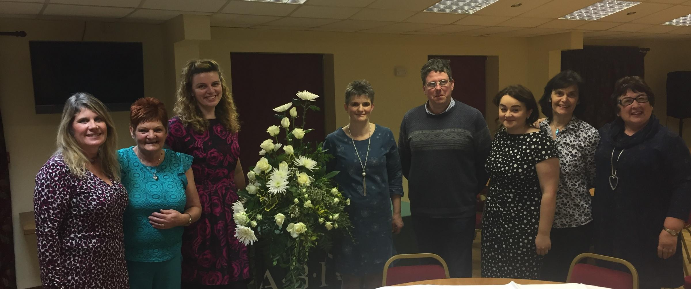 A fabulous floral art and musical evening at the Cobra Rugby Club in Meifod was a sell-out, bringing in over £800 for farming charity R.A.B.I. Chelsea Flower Show exhibitor Christine Higgs skilfully put together four winter-themed floral arrangement