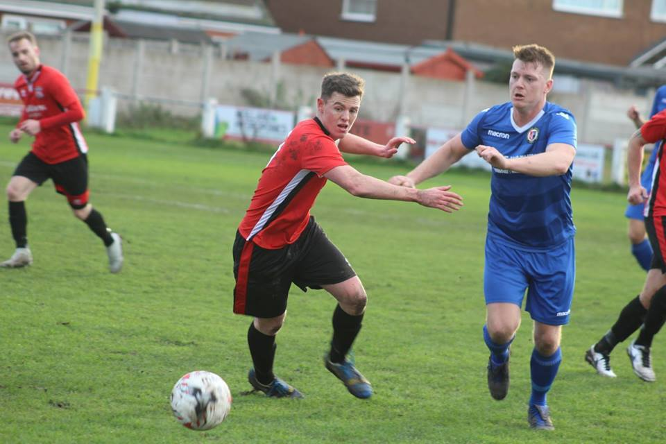 Action from Prestatyn Town's clash with Llanrhaeadr. Picture by Ryan Unsworth.