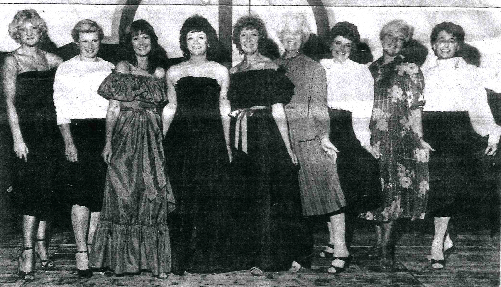 1984 - Models from Welshpool shop Emalies, who presented a fashion show at Castle Caereinion WI. Vicky Waldron, Judith Greatorex, Janette and Joyce Mason, Pam Edwards, Jenny Jenkins, Joan Davies, Gwneth Thornton, Betty Ford and Joyce Evans