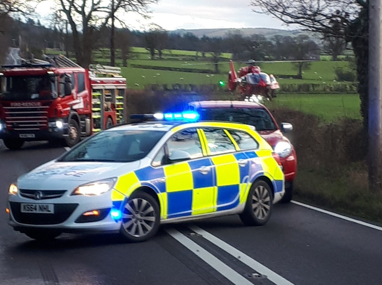 The A490 between Chirbury and Churchstoke was closed while emergency services dealt with the incident (Picture: @SouthShropCops/Twitter)
