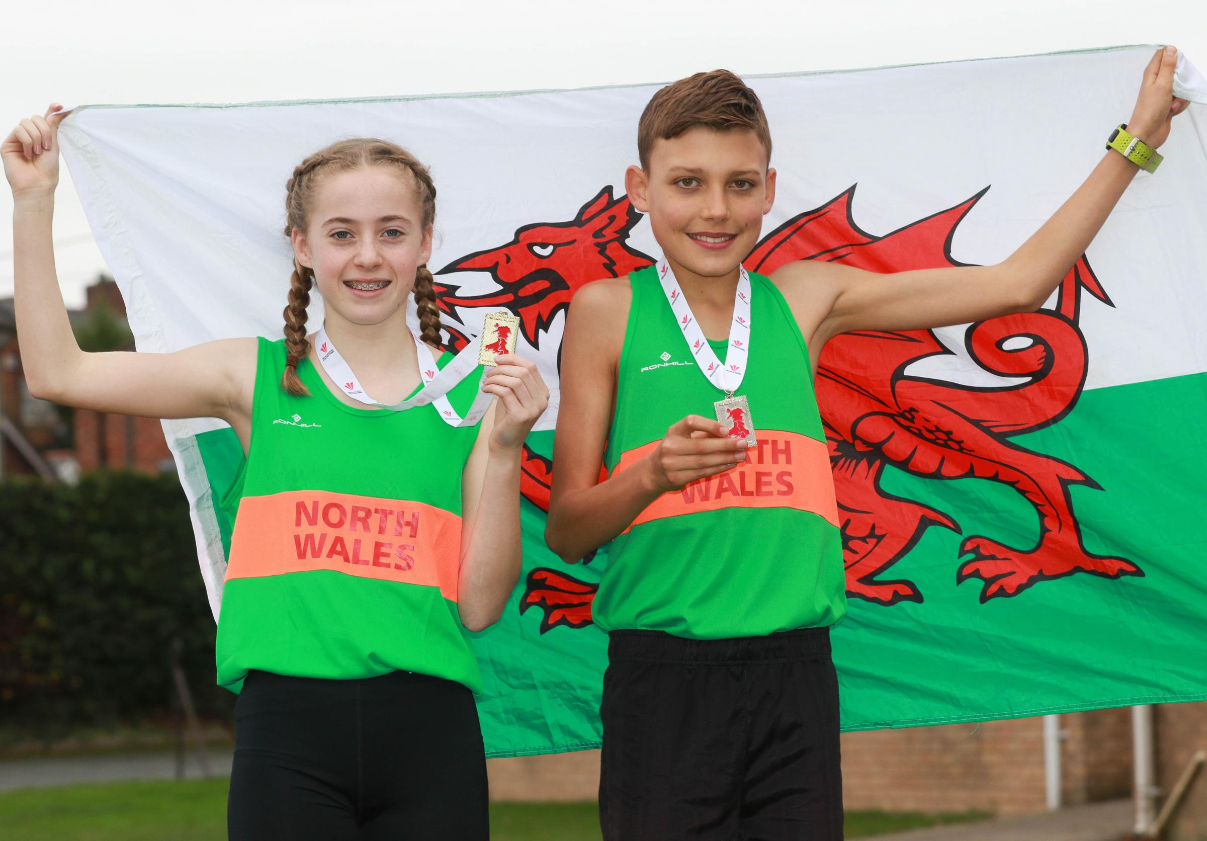 Maddie Griffiths and Callum Morgan from Welshpool High School both represented North Wales at The 2018 Welsh Inter-Regional Cross Country Championships in Llandrindod Wells..Maddie Griffiths came 1st in the girls and Callum came 2nd in the boys..Picture b