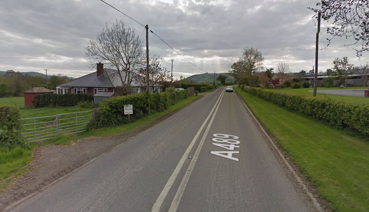 The one-vehicle crash happened on the A489 at Pentreheyling. (Image: Google Street View)