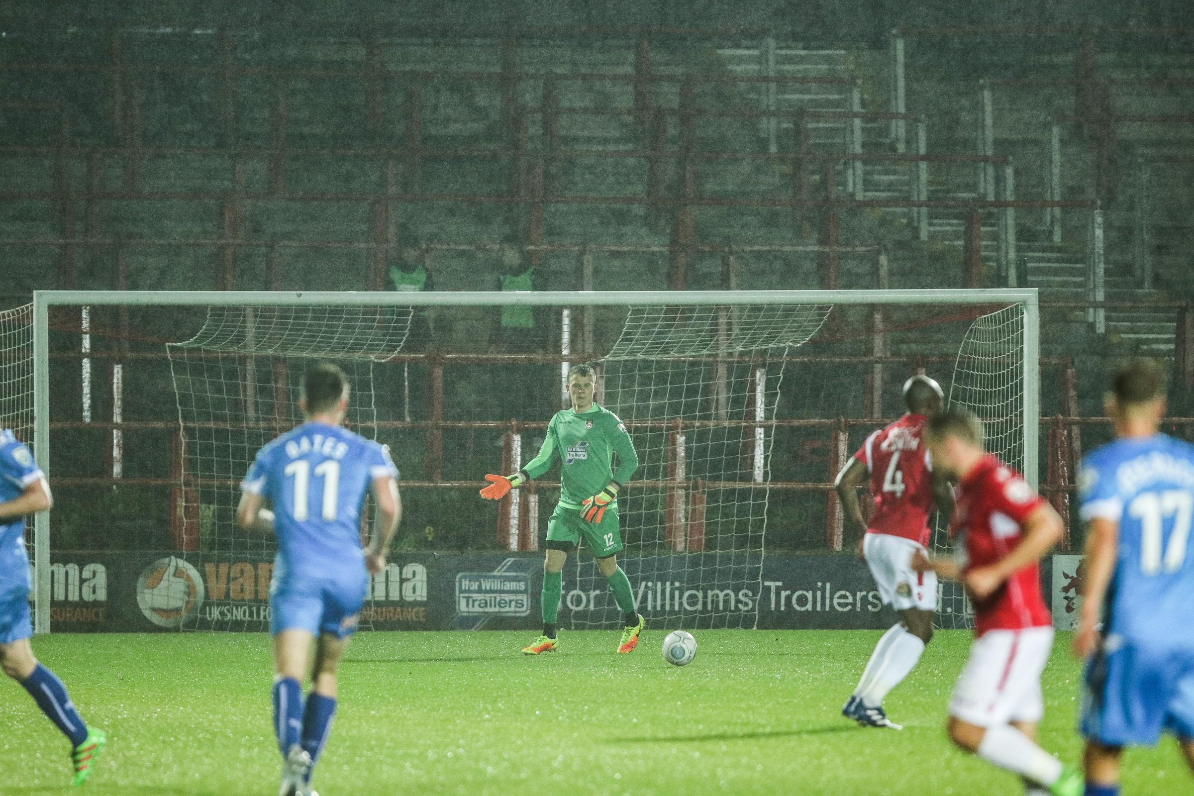 Callum Preston in action for Wrexham against Hartlepool.