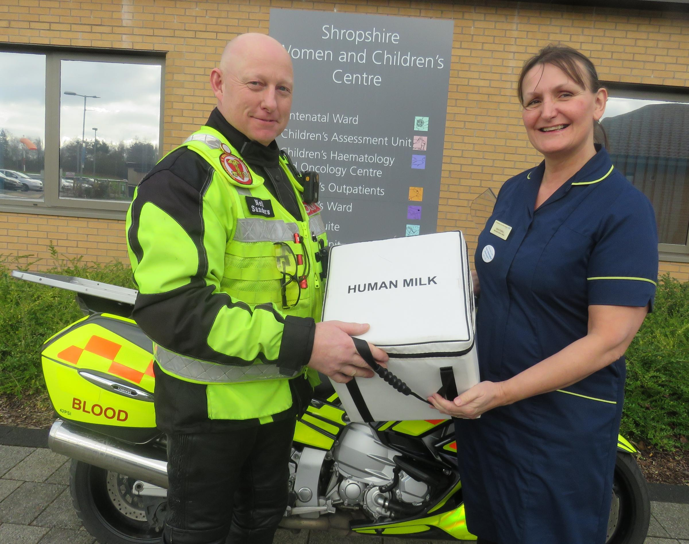Neil Sanders from Blood Bikes with Neonatal Sister Gina Powell