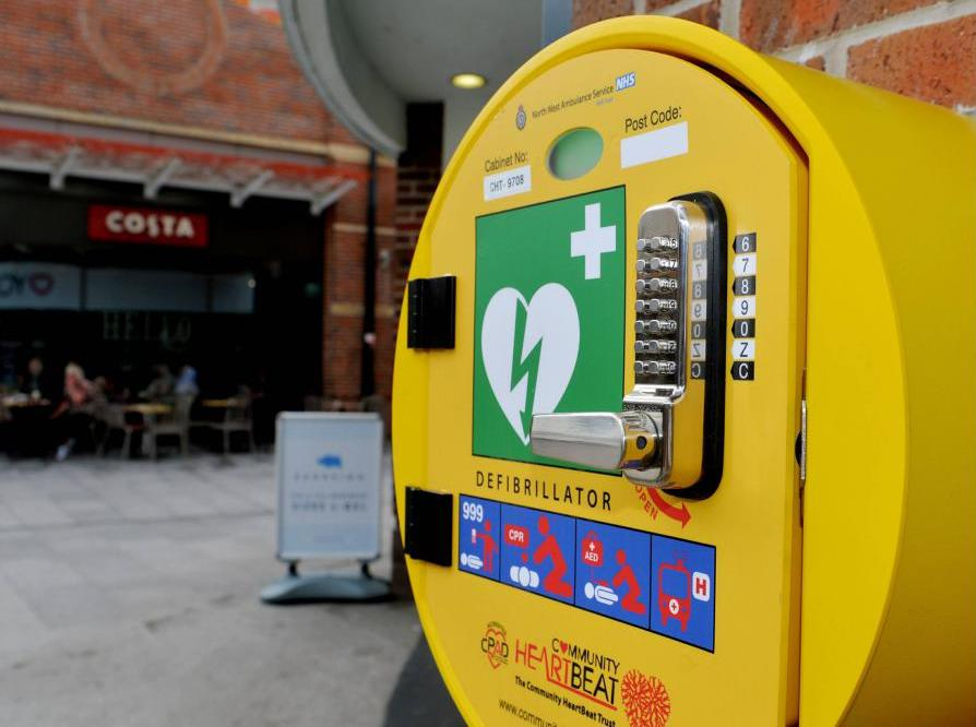 The new public-access defibrillator on the wall of the Yours shop under The Hub in Washington Square Shopping Centre, Workington. ..Pic Tom Kay       Wednesday 13th June 2018 50090214T003.JPG.