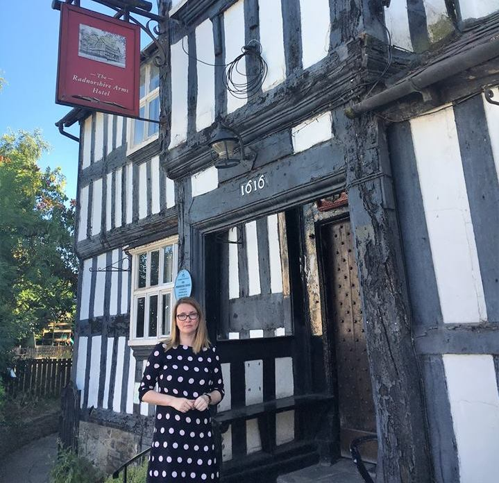 Kirsty Williams outsid the Radnorshire Arms Hotel at Presteigne.