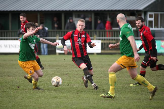 Action from Guilsfield's clash with Penrhyncoch. Picture by Beed Images.