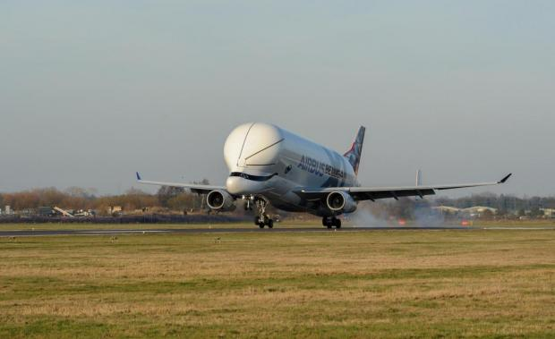 County Times: Airbus Broughton, Picture of the new Beluga XL fly pass and landing as a test flight. SW14219G