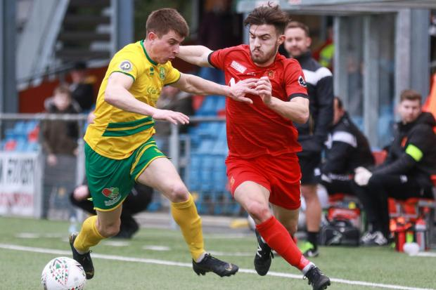 Newtown v Caernarfon Town..Pictured is Callum Roberts..Picture by Phil Blagg..PB079-2019-18.