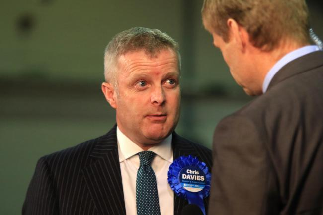 Chris Davies, Conservative MP for Brecon and Radnorshire, is interviewed during the Brecon and Radnorshire general election count at the Royal Welsh Showground, Llanelwedd, Builth Wells. Picture: Mike Sheridan/County Times. MS560-2017.
