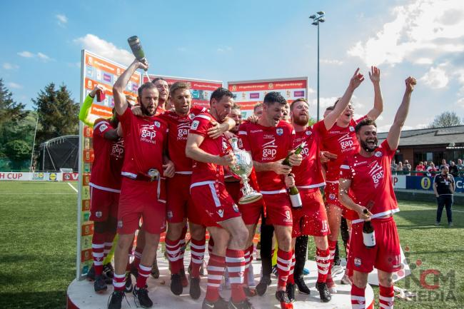A TASTE OF SILVERWARE: Connah's Quay Nomads celebrate winning the Welsh Cup in 2018. Picture: NCM MEDIA