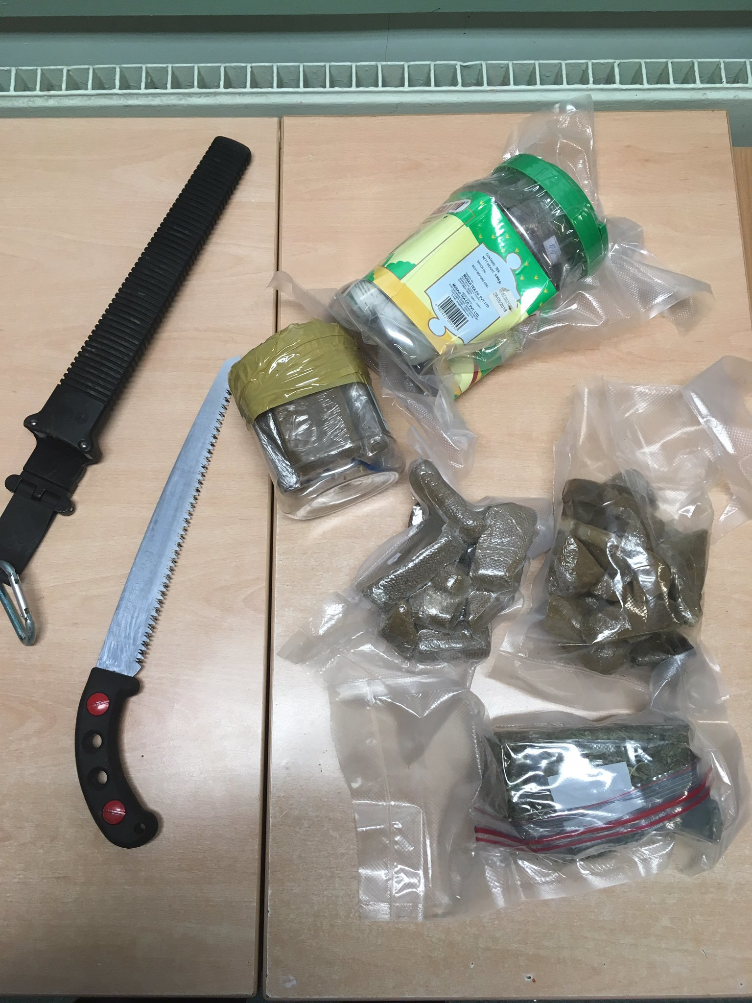 Cannabis and a knife were found in the man's bag by police. Picture: Twitter/@NewtownRPUSGT