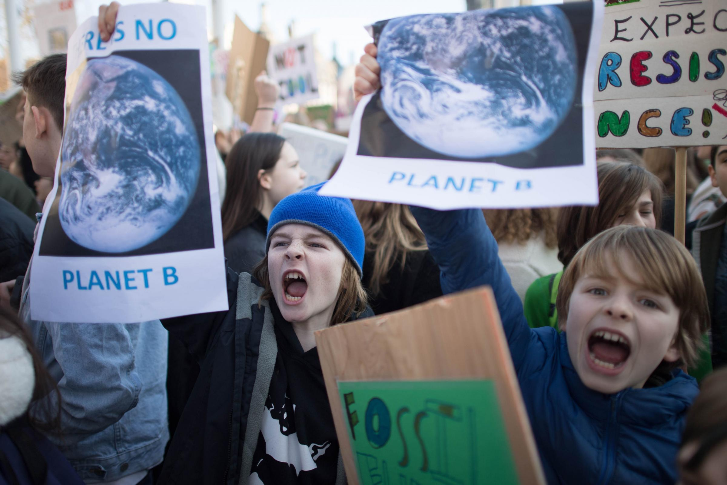 Students from the Youth Strike 4 Climate movement during a climate change protest on Parliament Square in Westminster, London. Stefan Rousseau/PA Wire.