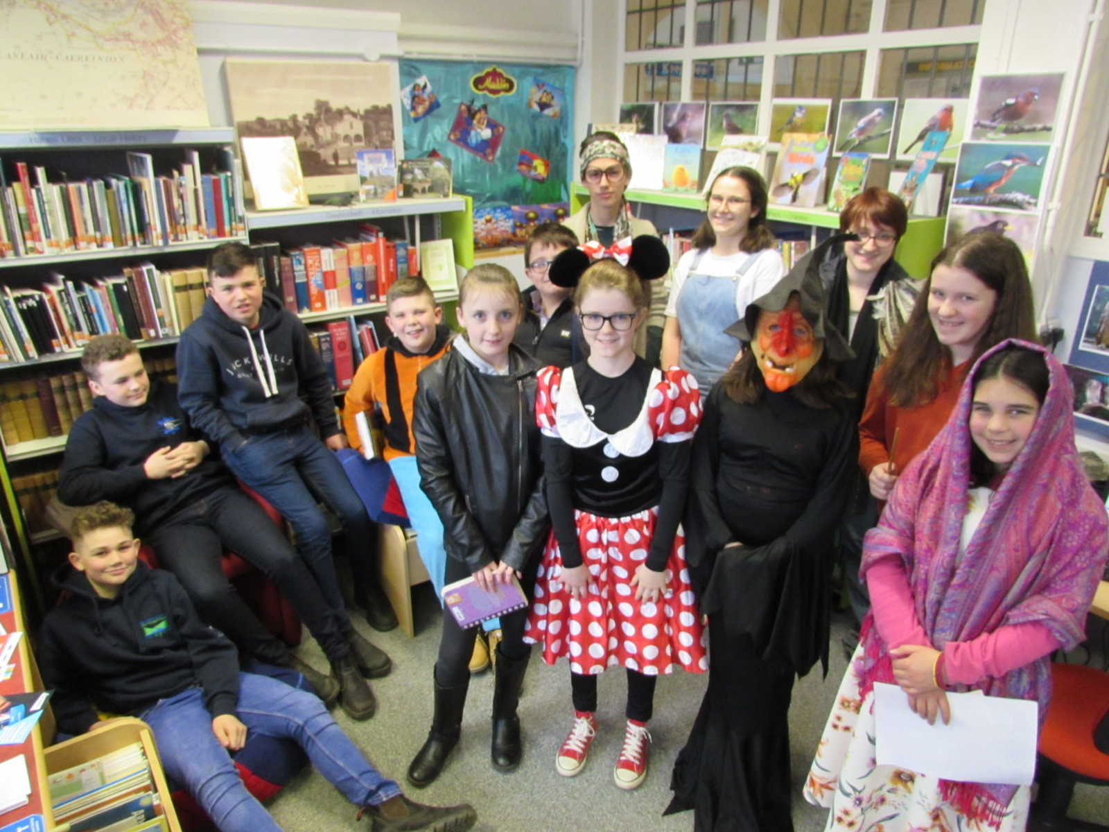 Caereinion High School pupils dress the part for World Book Day at Llanfair Caereinion Library on Thursday, March 7.