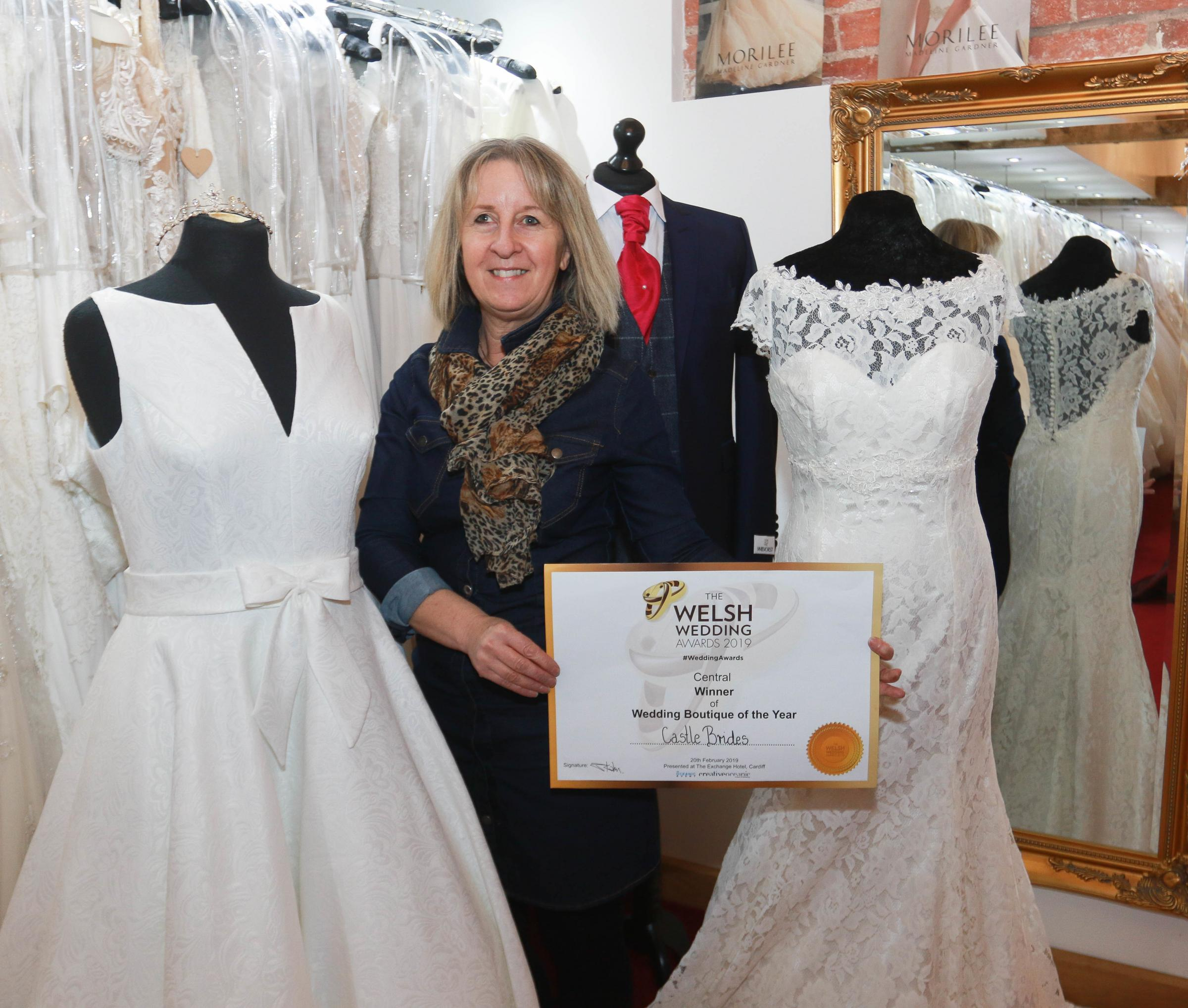 Angela Jones, of Castle Brides on the Powys/ Shropshire border, won Wedding Boutique of the Year at the Welsh Wedding Awards 2019. Picture: Phil Blagg (PB119-4)