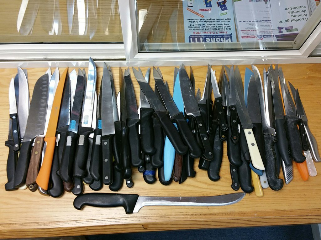 A total of 179 knives have been handed to Presteigne and Knighton NPT as part of operation Sceptre. Photo: Twitter/@RadnorshireNPT