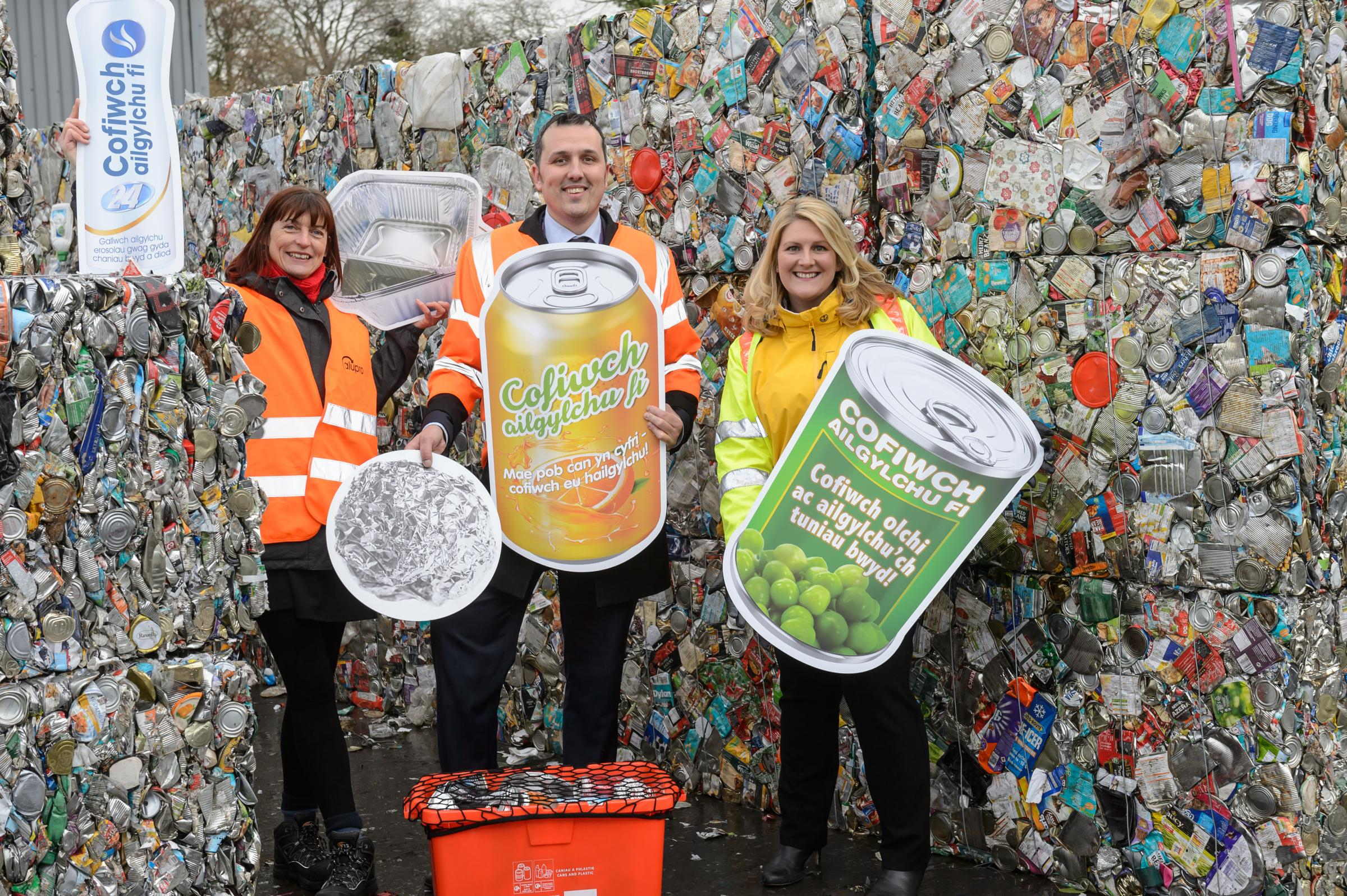 Kate Cole, programme manager at Alupro (left); James Thompson, senior waste awareness and enforcement officer at Powys County Council; Nicola Jones, packaging recycling education manager at Tata Steel want you to 'Make Your Metals Matter'.