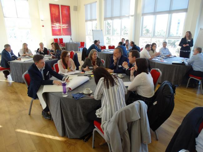 Business representatives taking part in a Mid Wales Growth Deal workshop.