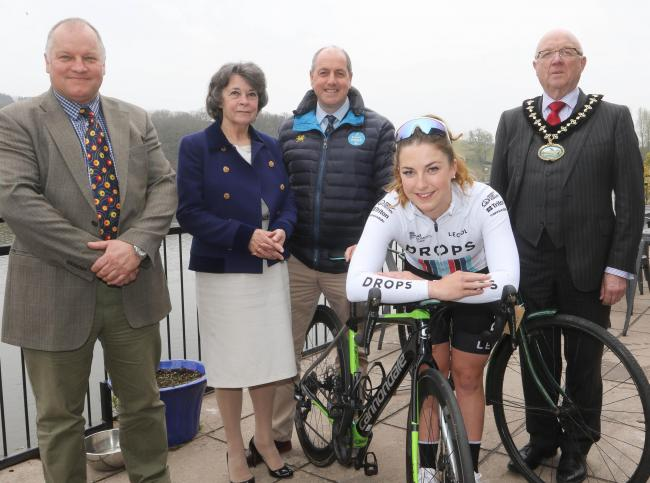 The launch of stage 5 of the Ovo Energy Women's Tour took place at the Lakeside Cafe, Llandrindod Wells, with cyclist Manon Lloyd. Picture: Phil Blagg (PB175-28)
