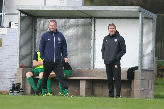 28/10/2017 - Llani boss Hugh Clarke (left) during the Spar Mid Wales League division one match between Welshpool Town and Llanidloes Town at Maesydre...Pic: Mike Sheridan/County Times.MS767-2017.