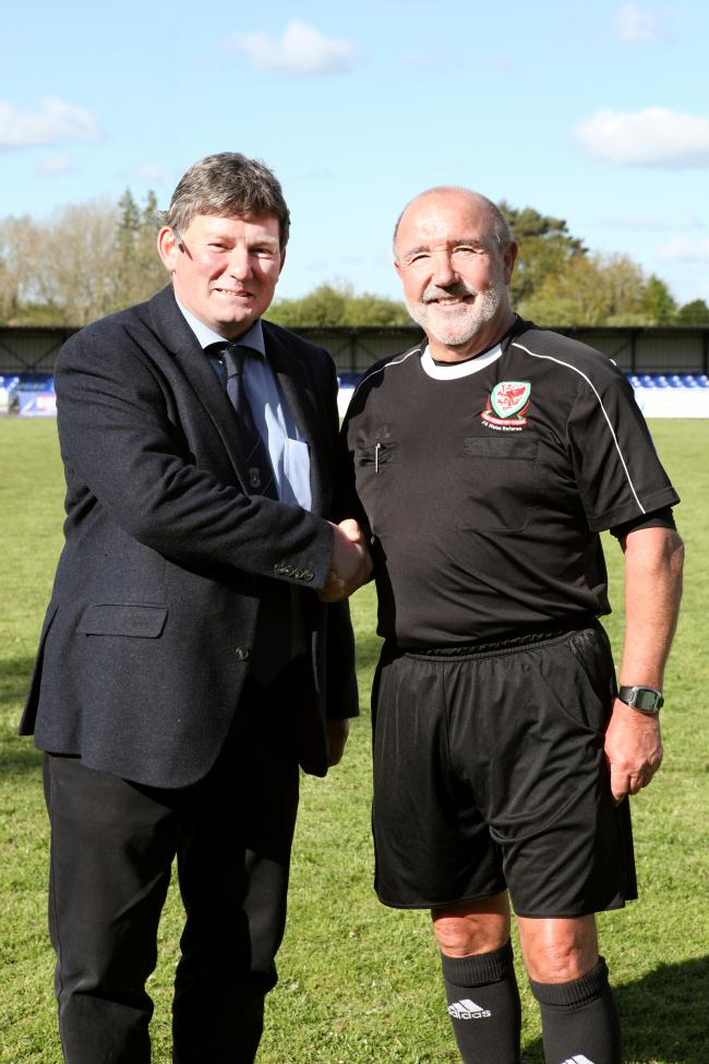 Rob Evans (right) with Football Association of Wales (FAW) councillor Will Lloyd Williams. Picture by Rob Davies.