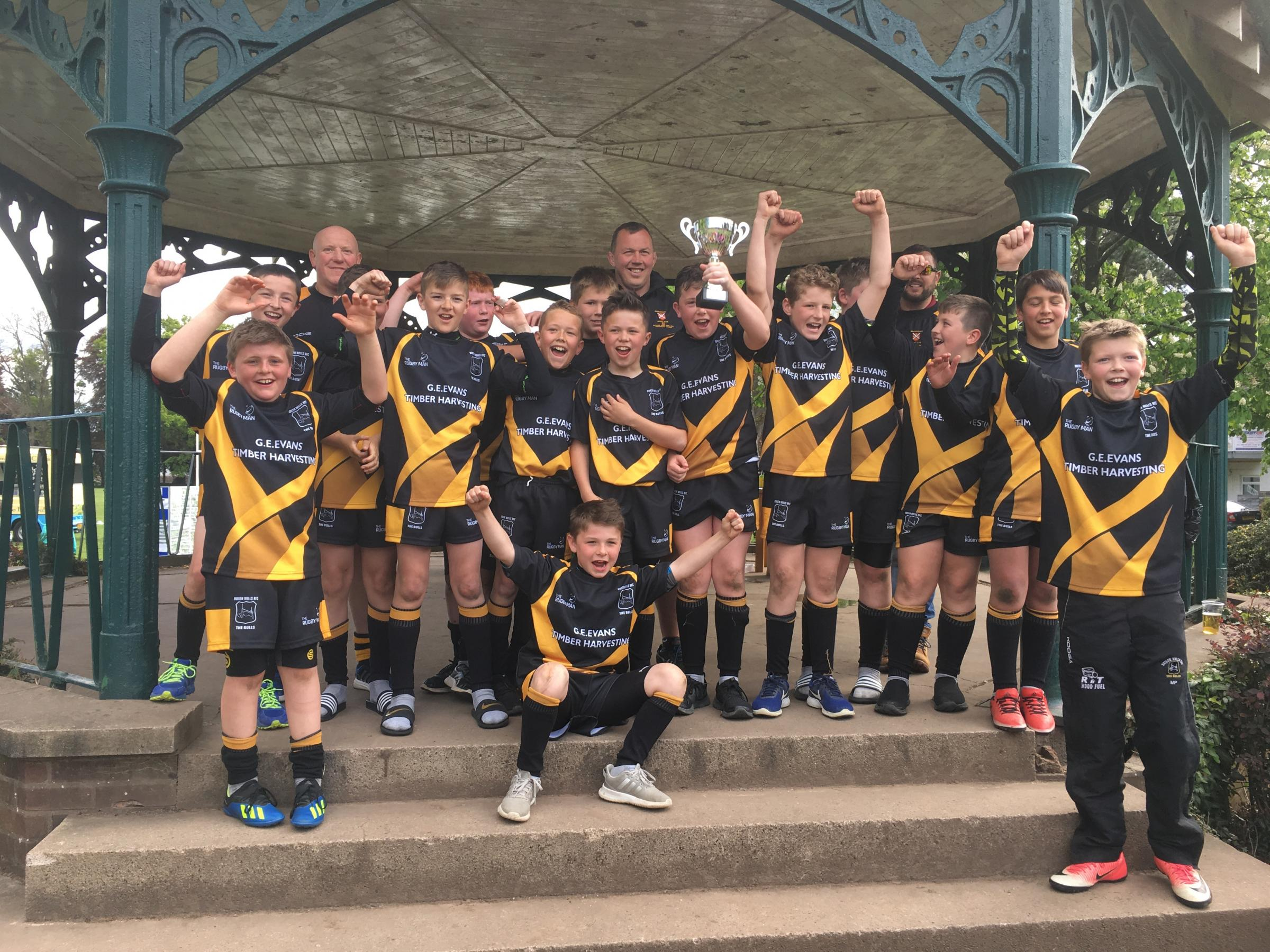 Builth Wells Under 12s with coach Garry Mason are (back from left) Caio Jones, Sam Williams, Lewis Bevan, Thomas Edwards, PJ Jones, Dominic Chew, Ceri Davies, Deri Mason, Sam Bridgewater, Tom Evans, George Morgan, Ben Evans-Williams (front) Ryan Jones, Ow