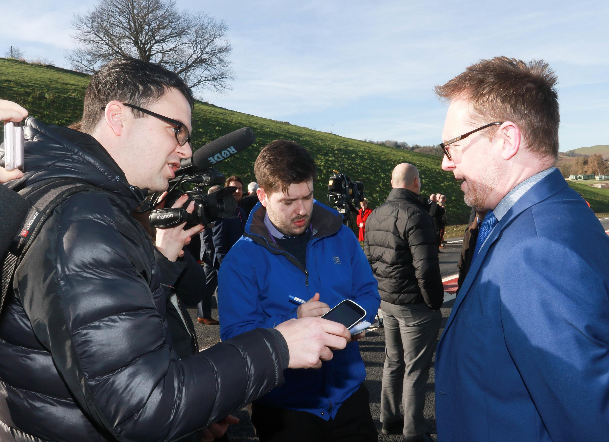 Newtown Bypass opening last Thursday 14th February 2019 by Transport Minister Ken Skates AM..Pictured is Mike Sheridan and Russell George..Picture by Phil Blagg..PB068-2019-33.