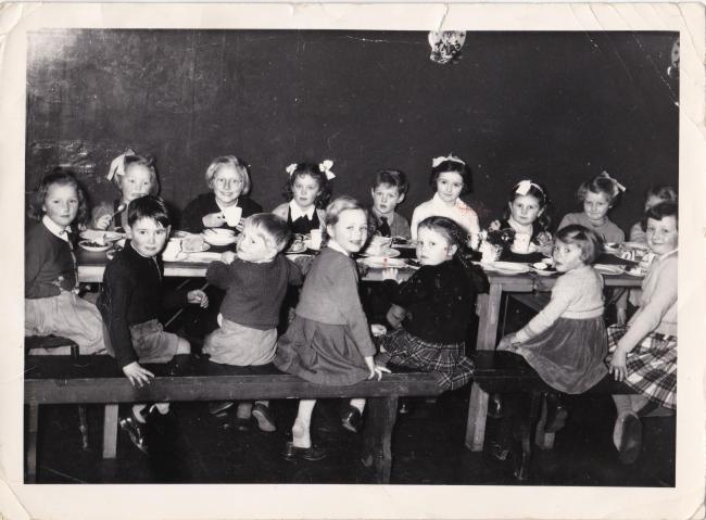 Children at a British Legion Christmas party in 1955 or 1956.
