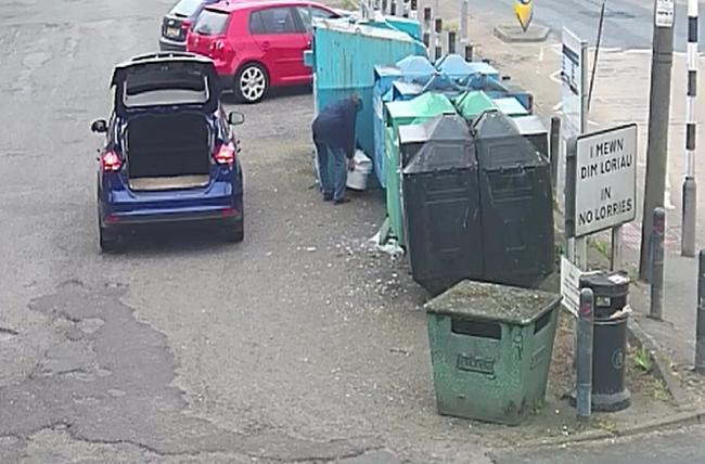 A Llanfyllin resident caught on CCTV dumping rubbish at a community recycling site has been fined £200 by the county council