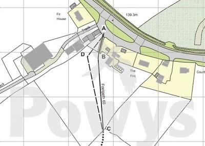 Sight of the proposed path diversion in Churchstoke. Image: Powys County Council