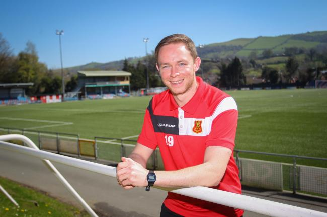 Craig Williams, who made his 300th domestic appearance for Newtown AFC against Cefn Druids on Saturday, April 8, 2017, photographed before the game at Latham Park.  MS468-2017 Pic: Mike Sheridan/County Times